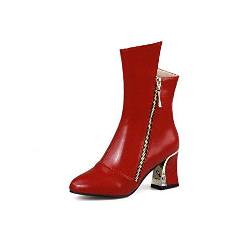 spitze Absatz Stiefel Reißverschluss Weiches Damen Mitte Material Voguezone009 Mittler Rot wqCH1xTYF