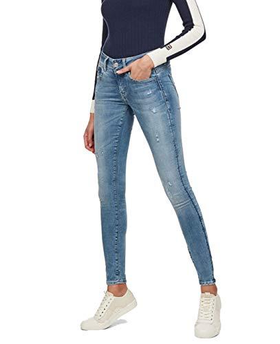 G-STAR RAW Damen Lynn D-mid Waist Super Skinny Jeans, Blau (lt aged destroy 9136-1243), 23W/L30