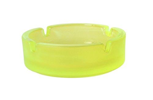 cenicero apilable vidrio amarillo neón diámetro 10,6cm
