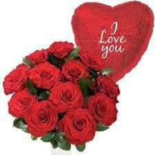 Floreslowcost Mazzo di 12 Rose rosse fresche naturali, Confezione regalo da 100 g di cioccolato, Nestlé