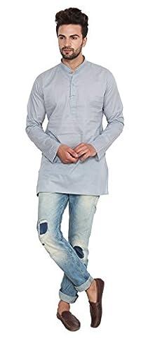 Cotton Dress Mens Short Kurta Shirt India Fashion Clothes (Grey, M)