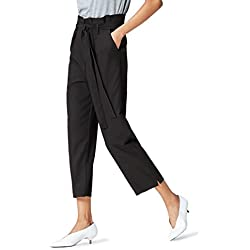 find. Paperbag Waist_AN5488 Pantalones, Schwarz, 38 (Talla del fabricante: Small)
