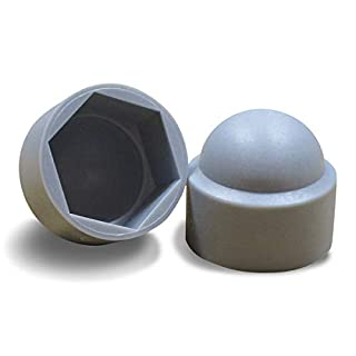 ajile - 100 pieces - Snap on domed nut bolt cap, protective cover for M8, 13 mm nut - GREY plastic - FAH313-L