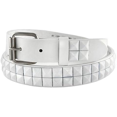 Thin fila doble Blanco tachonado cinturón