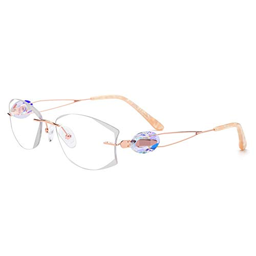 Shengjuanfeng-brillen Damenmode Strass Trimmen Optische Eyelasses Frames. Accessoires (Farbe : Eyelasses)