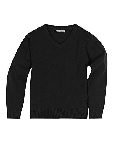 new-boys-girls-ex-ms-cotton-rich-v-neck-school-jumper-navy-black-grey-blue-38-40-plus-size-black