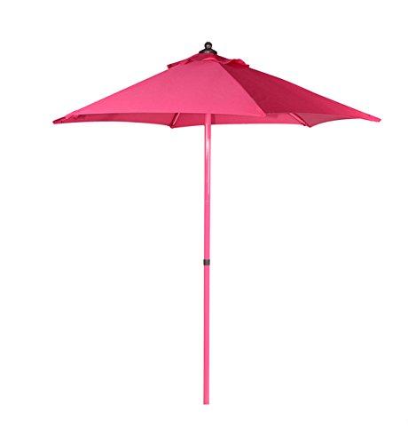 PEGANE Parasol Rond 2,40 m inclinable en Acier Coloris Rose - Dim : D 2,40 x H2,40 m