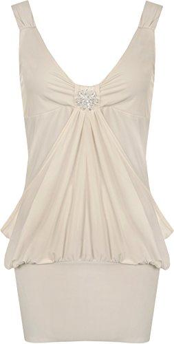 WearAll - Robe sans manches courte et bouffante avec un ourlet serré et une broche - Robes - Femmes - Grandes tailles 44 à 50 Beige