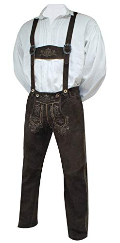 Lederhose mit Träger Trachtenhose Trachtenlederhose lang braun Trachten Leder Hose hochwertiges Wildbockleder Bestickt Sattelnaht Tellernaht Patina Stickerei, Größe:56 -