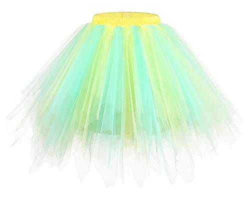 bridesmay Tutu Damenrock Tüllrock 50er Kurz Ballet Tanzkleid Unterkleid Cosplay Crinoline Petticoat für Rockabilly Kleid Champagne-Light Blue M - Ballkleid Light
