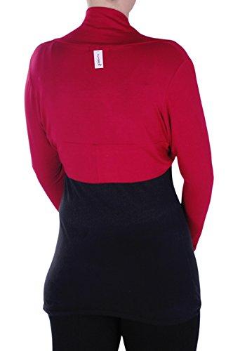 Eye Catch - Rhea Femmes Bolero Ouvrir Avant Dames Cardi Shrug Enveloppez Cardigan Tops Tailles Rouge