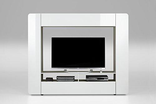 Cavadore 89216 Mediawand Hollywood 01 / Wohnwand Hochglanz Weiß / Moderne Tv-Wand mit viel Stauraum / 35 x 196 x 161 cm (T x B x H) - 2