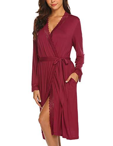 Pyjamas Damen Bademantel Baumwolle Sexy V-Ausschnitt Nachtwäsche Spitze Nachtwäsche Kimono Saunamantel Schlafanzug