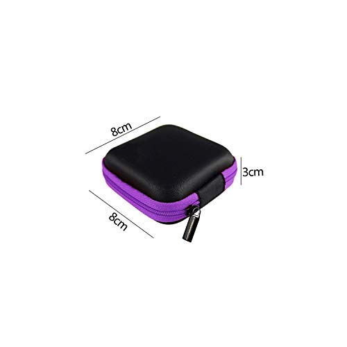 Storage Box Case Container Coin Headphone Protective Storage Box Colorful Headphone Case Travel Storage Bag for Earphone Data Cable Charger,Purple Square 8X8Cm (Kunststoff-square Storage Container)