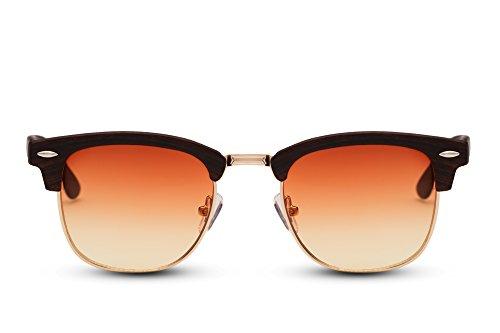 Cheapass Sonnenbrille Braun Rot Gradient Linsen Halbrahmen Retro UV-400 Plastik Damen Herren