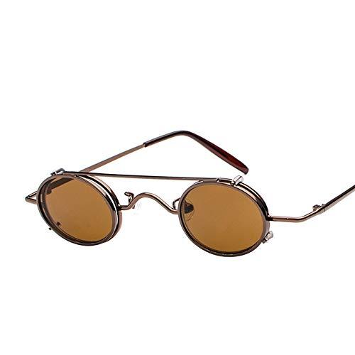 TYJDEGD Design Kleine ovale Sonnenbrille Dampf Sonnenbrille Frauen Spiegel Luxe 80er Jahre Runde Sonnenbrille Mens Flat Lens Vintage UV 6
