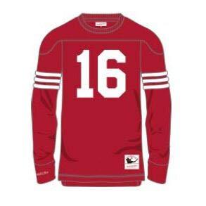 Mitchell & Ness Joe Montana #16 San Francisco 49ers Throwback NFL Long Sleeve Shirt Rot, XXL - Mitchell Ness Throwback