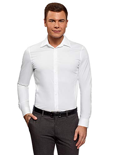 Oodji ultra uomo camicia basic con maniche lunghe, bianco, 41cm / it 48 / eu 41 / m