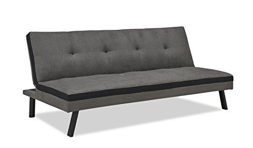 Mobilier Deco Sitzbank Clic-Clac Convertible 3Sitzer grau und schwarz Schlafsack 2Personen