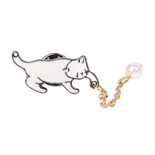 JAGENIE Happy White Cat Kitty mit weißen Perlen Elegante Brosche Pins Muttertag Geschenk