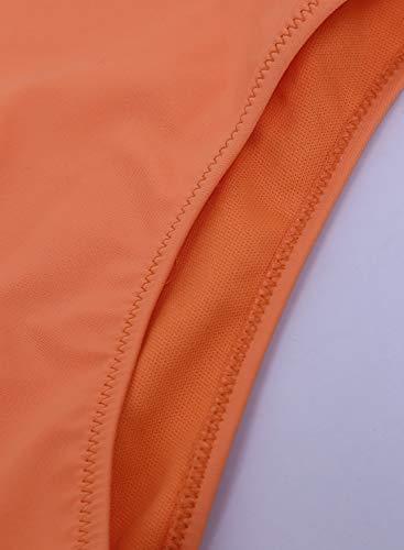 SIDEFEEL Damen Bikini-Set mit Schnürung, hohe Taille, zweiteilig, Badeanzug - Orange - Medium - 4