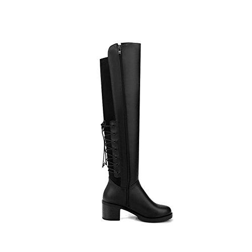 AgooLar Damen Rein Blend-Materialien Mittler Absatz Rund Zehe Stiefel mit Metallisch, Schwarz, 38