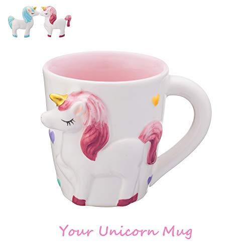 YAPASPT Taza mágica de Unicornio - INS 3D Cute Cartoon Unicorn Taza de café de Leche de cerámica - La Mejor Fiesta de cumpleaños Opción Navidad para niños Adultos Amante (Rosa)