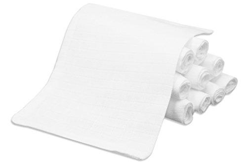 Zollner 10er Set Waschlappen Waschhandschuh für Babys aus Baumwolle, ca. 17x22 cm, Farbe weiß