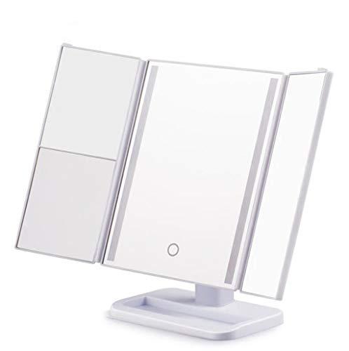 Lampe De Table Carrée De Miroir De Maquillage De LED Avec La Loupe Pliable De Lumières Miroir De Maquillage De Beauté (blanc)