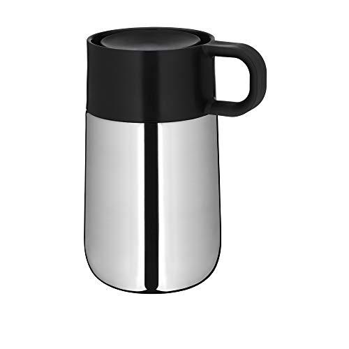 WMF Impulse Travel Mug/Thermobecher, 0,3 l, Höhe 14 cm, 7,8 cm, Automatikverschluss, 360° Trinköffnung, hält Getränke 6h warm/ 12h kalt, silber