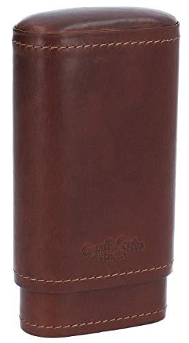 Leder-Box für Zigarren und Feuerzeug Gusti Leder Studio Ramon Zedernholz-Inlay Hülle Case Cover Dunkelbraun 2T21-22-6