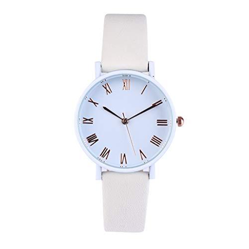 SHE.White Damen Süssigkeiten Farben Damen Minimalistisches Rom Rahmen Quarz Armbanduhren Slim Rund Uhren Damenuhren mit Leder Uhrenarmband