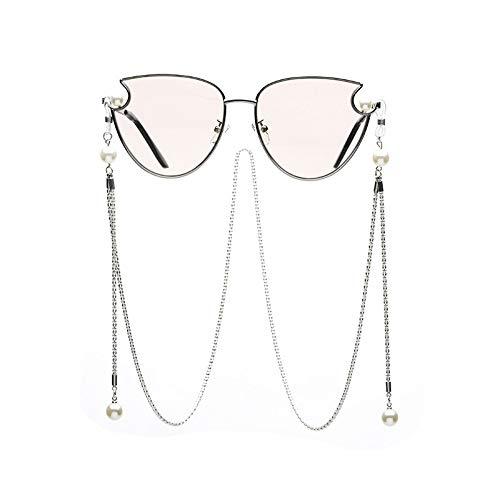 Sonnenbrille,Klassische Mode Katzenaugen Perle Mit Kette Sonnenbrille Frauen Fahren Hochwertige Metall Rahmen Uv-Schutz Sonnenbrille Champagner