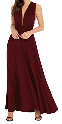 EasyMy Frauen Long Burgund Maxi Kleid Cabrio verpackt Abendkleid Kleid