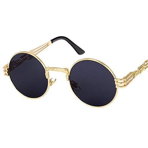 KJWELUQ Spiegel Sonnenbrille Gold und Schwarze Sonnenbrille runden Kreis Männer