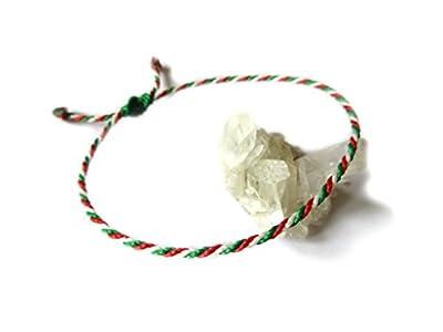 Bracelet corde/fil Vert Blanc Rouge Couleur Drapeau Italie Italia. Porte chance/Brésilien/Simple. Fait avec du fil ciré et ajustable. Réf.#P8