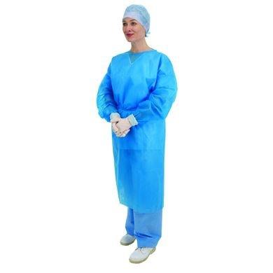 Premier Einweg-Kittel 5520, langärmelig, elastische Bündchen, Blau, 10Stück