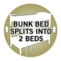 Slumber World Convertible Single Metal Bunk Bed- |Can be Used as TWO Single Beds| Silver
