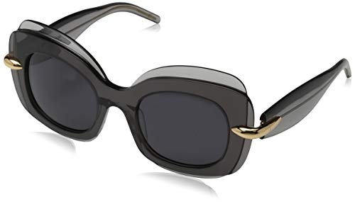 Pomellato pm0001s 001 occhiali da sole, grigio (001-grey/smoke), 49 donna