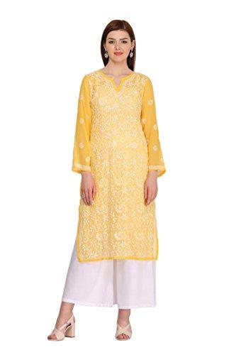 ADA Designer Handmade Lucknow Chikan Regular Wear Faux Georgette Kurti A90321