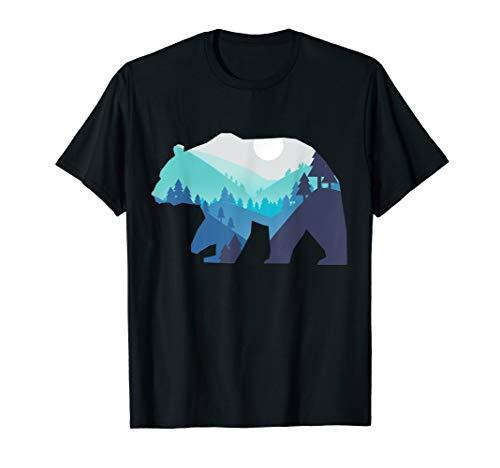 Wandern Bergsteigen Bär Grizzly Graubär Braunbär T Shirt