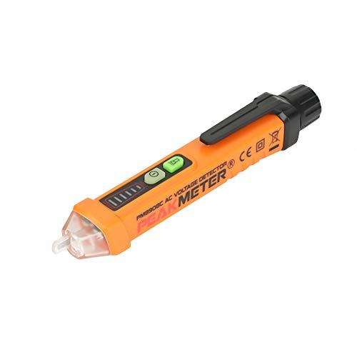 Akozon Spannungsprüfer PEAKMETER PM8908C NCV Detektor Spannungsprüfer Stift AC12-1000V Durchgangsprüfer einstellbare Empfindlichkeit mit LED-Taschenlampe (Led-circuit-tester)
