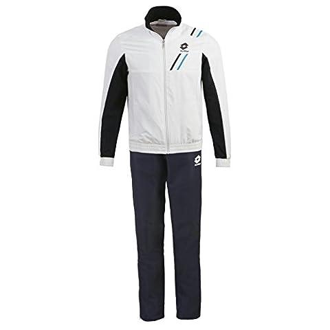 Lotto Hommes Ensemble Veste De Sport Running Bas Jogging Gym Pantalon Top Haut Blanc/Noir/Blu Small