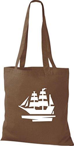 JUTA Borsa di stoffa barca a vela, Stivale, SKIPPER, CAPITANO marrone medio