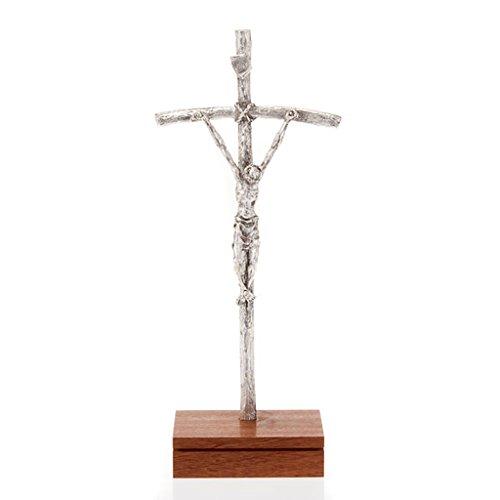 Kruzifix Pastoral Kreuz Johannes Paul II silbrigen Metall