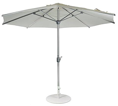 Parasol droit | Blanc| Ø 300 cm | Rond | SORARA | APPLE | Diamètre du mât Ø 48 mm| Polyester 180 g/m² (UV 50+)| Commande à manivelle (pied