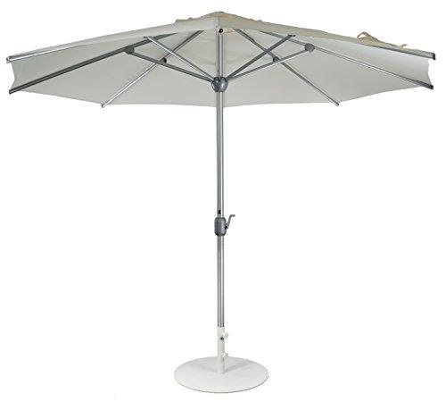 SORARA Parasol Jardin | Blanc | Ø 300 cm / 3m | Rond Apple | Diamètre du mât Ø 48 mm| Commande à Manivelle (Pied excl.)
