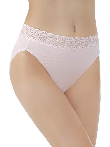 Vanity Fair Damen Flattering Lace Cotton Stretch Hi Cut Panty 13395 Unterhose, Sheer Quartz, Medium -