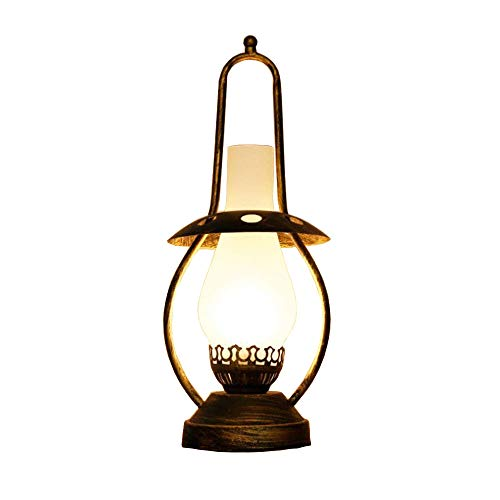 Lampada da tavolo vintage lampada da tavolo in vetro stile industriale led luce notturna retrò in ottone anticato e27 per loft camera da letto country house reer luce notturna 14x14x42 (cm)