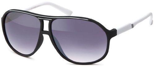 Sense42 Retro Sonnenbrille Two Tone Schwarz Weiß, flexiblen Federscharnier Bügeln, Nerdbrille Damen Herren Unisex mit Brillenbeutel (Wayfarer Two Tone Sonnenbrille)